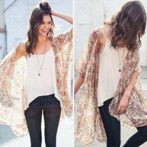 Brandy Melville Floral Kimono Cardigan